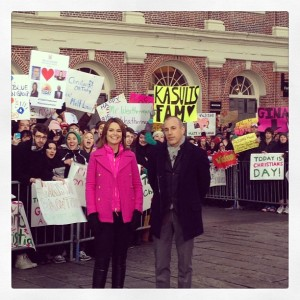 Savannah Guthrie and Matt Lauer in Quincy Market. Image via Today Show's Instagram