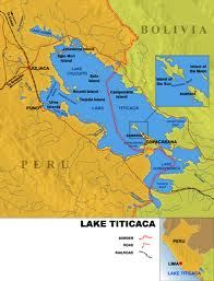 Lake Titicaca, shared by Peru to the northwest and Bolivia to the southeast.