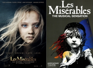 Then and now: The 2012 film poster versus the poster for the stage show.