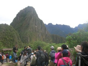 In line to climb Huayna Picchu.