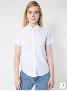 Poplin Round Collar Short Sleeve Button-up, $46