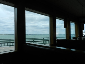 Inside the restaurant: views of Nahant Beach and the open ocean can be seen from here.