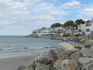 Houses on the edge of Nahant Beach.