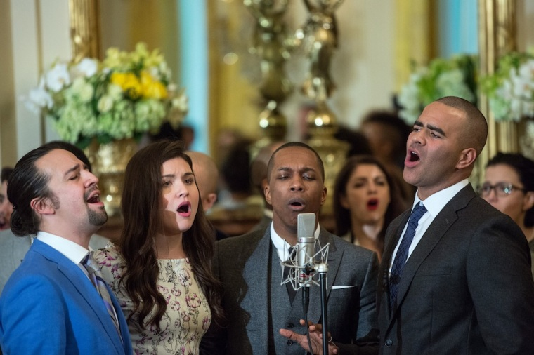 """Cast members perform musical selections from the Broadway musical """"Hamilton"""" in the East Room of the White House, March 14, 2016. (Official White House Photo by Amanda Lucidon)"""