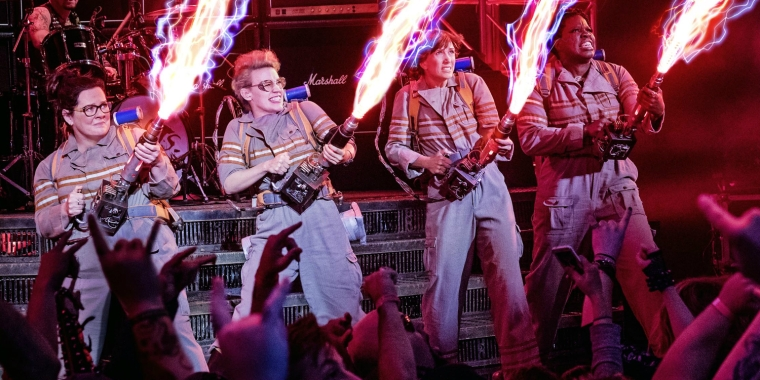 A scene from Ghostbusters (2016). Left to right: Melissa McCarthy, Kate McKinnon, Kristen Wiig, and Leslie Jones.